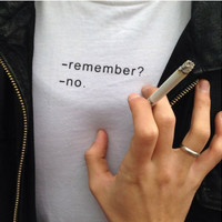 "White ""Remember?"" Letter Print T-Shirt"