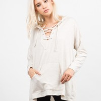 Lace Up Hooded  Sweater