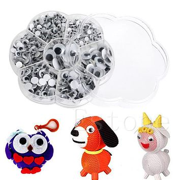 700Pcs/Box DIY Round Self-adhesive Wiggly Googly Eyes For Doll Toy 7 Sizes