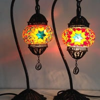 Set of Mixed Colors Stylish Bohemian mosaic lamps with crafted copper base, Unique Ethnic lamps, Night table lamps, Set of Copper Base Light