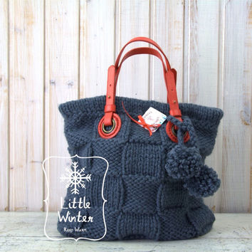 Boho bag Handmade bags Shoulder bag Knit handbags Shoulder bag purses Soft yarn Natural leather straps
