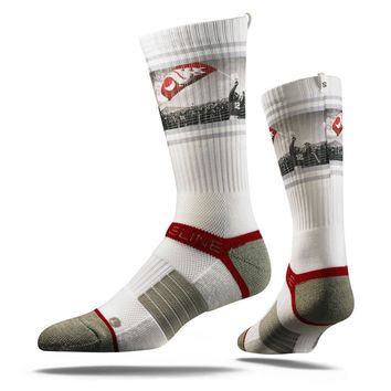 Strideline® 2.0 Cougar Flag Runner Washington State Red Grey Crew Socks NEW
