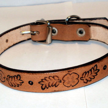 "Leather dog collar, 5/8"" wide, 11 in, tan, tooled floral design"