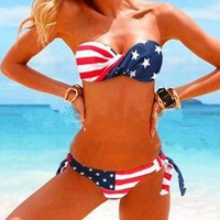 Flag Stars Striped Strapless Padded Swimsuit