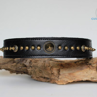 Leather Dog Collar // Brass Spikes and Spots