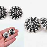 Vintage Southwestern Sterling Silver Concho Pierced Earrings, Round, Domed, Etched, Sun, Star, Oxidized, So Pretty! #c473
