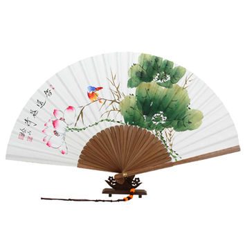 Hand Painting Lotus Flower Folding Korean Chinese Japanese White Rice Paper Art Wood Asian Oriental Wall Decorative Wedding Fan