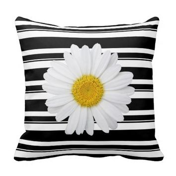 Black and White Stripes and Daisy Reversable Pillow