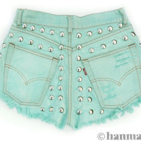 "Hanmattan ""HEAVY METAL"" vintage high waisted studded denim cutoff shorts turqoise blue pastel green mint"