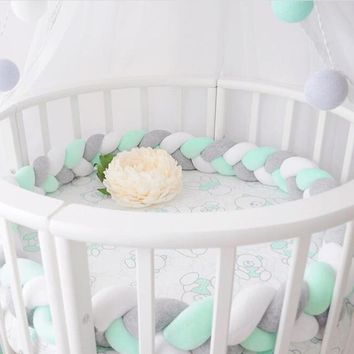 1.5M Lenght Baby Bed Bumper Knot Design Newborn Crib Pad Protection Cot Bumpers Bedding Accessories for Infant Room Decor