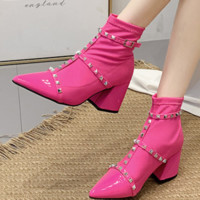 The new high heel pointed rivet Martin boots for women
