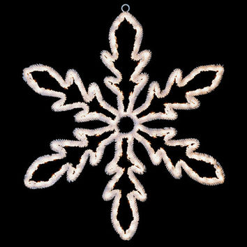 """24"""" Lighted White Hanging Snowflake Christmas Decoration - Clear Lights"""