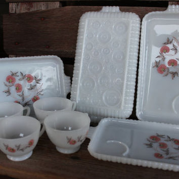 Mid century Fire King Fleurette milk glass luncheon plate set, Vintage milk glass Fireking serving trays / cups, Mid century glass snack set