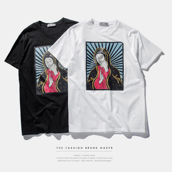 Virgin Mary Print Short Sleeve T-Shirt