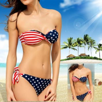 Stars Stripes USA padded Twist bandeau bikini American Flag 2 pcBathing suit Swim suit