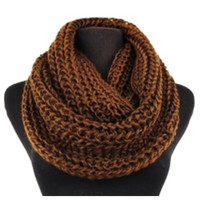 Classic Thick Crochet Brown Chunky Infinity Scarf