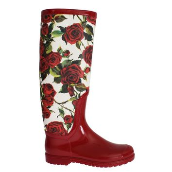 Dolce & Gabbana Red Roses Rubber Rain Boots