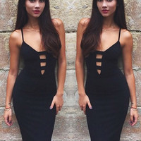 Hera Black Ladder-Bust Bandage Dress