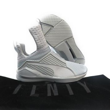 [189695-04] PUMA FENTY TRAINER BY RIHANNA QUARRY GREY WOMEN SNEAKER SIZE 6