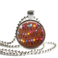 Stranger Things Alphabet Lights Silver Plated Picture Pendant Necklace
