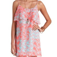 Aztec Print Flounce Chiffon Shift Dress - Lt Pink Combo