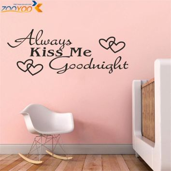 always kiss me goodnight creative quotes wall decals zooyoo8053 diy adesivo de parede vinyl wall stickers home decor mural arts