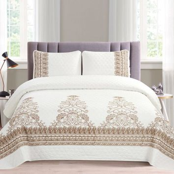 Royal Embroidery Luxury Modern Quilt Set - 3 Piece Set