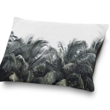 Cozumel Palms - Pet Bed, Beach Style Green Palm Trees Pet Bedding Coral Fleece Pet Pillow Bed Decor Sleep Accessory. In Small Medium Large