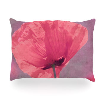 "Iris Lehnhardt ""Poppy"" Pink Flower Oblong Pillow"