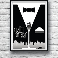 The Great Gatsby Movie Poster, Housewares, Wall Decor,  Literature print, Minimalist, F. Scott Fitzgerald