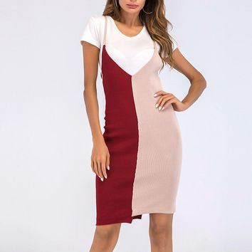Womens Knitted Bandages Dresses Slim Fit Color Patchwork Robes Casual Irregular Knitting Dresses Skinny Vestidos WS9100U