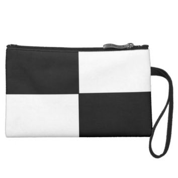 BLACK & WHITE SUEDED MINI CLUTCH PURSE
