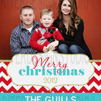 Red Blue Chevron Personalized Christmas/Holiday Card - Printable