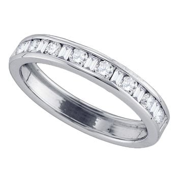 14kt White Gold Womens Round Baguette Diamond Wedding Band 1/2 Cttw
