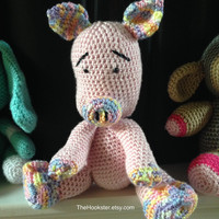 "Crochet Amigurumi Animal - Priscilla Pig - 12"" Stuffed Animal - Baby Safe Toy - Baby Gift - Plush Toy - Handmade Baby Pig - READY TO SHIP"