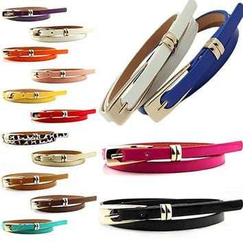 belts for women Fashion Candy Color Faux Leather Buckle Skinny Belt Thin Waistband Sash