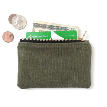 Wallet Coin Purse Zipper Pouch Recycled Military Cotton