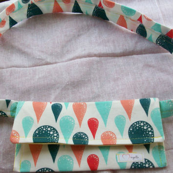 Clutch Purse Cotton Red and Blue Teardrop Pattern by Mongella