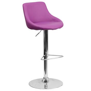 Designer Bucket Seat Swivel Home Office Kitchen Bar Stools Chairs 6-Colors #82028 (Purple)