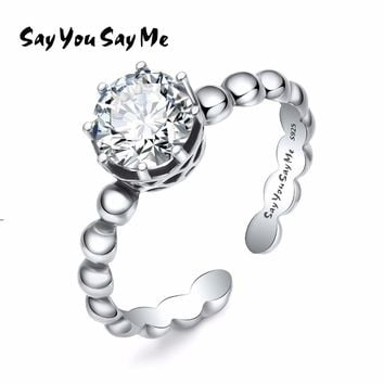 Say You Say Me 925 Sterling Silver Adjustable White Zircon Rings Wedding&Engagement Bridal Jewelry Cuff Rings 2018 Fashion