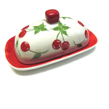 Cherry Butter Dish Large Keeper Red White