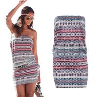 Strapless Striped Short Bodycon Beach Dress