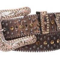 Snap On Western Cowgirl Alligator Rhinestone Studded Leather Belt Size: S/M - 34 Color: Black