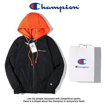 Champion High Quality Fashion Women Men Casual Hooded Zipper Cardigan Sweatshirt Jacket Coat Windbreaker