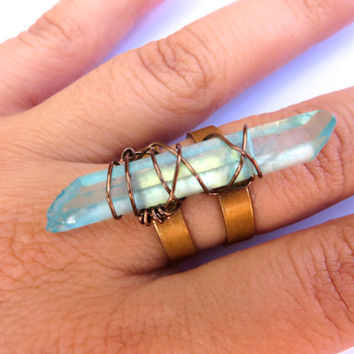 Quartz Crystal Point Ring Adjustable Finger Jewelry Wrap Long Aquamarine Aqua Stone Brass Bronze Raw Rough Wire Wrapped Jewelry