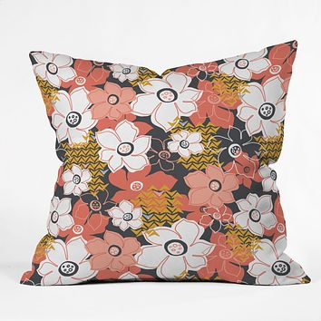 Heather Dutton Petals And Pods Lava Outdoor Throw Pillow