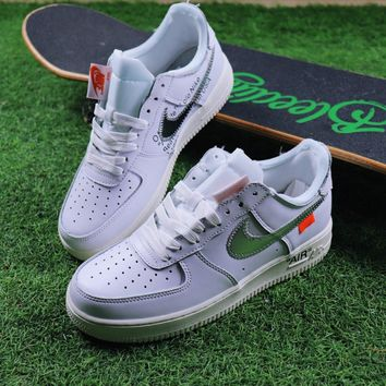 Sale OFF WHITE x Nike Air Force 1 Low White Silver Sport Shoes S 9b50210ce18c