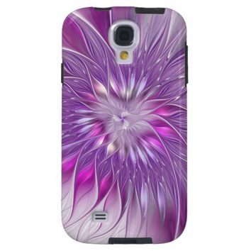 Pink Flower Passion Abstract Fractal Art Galaxy S4 Case