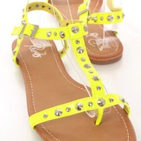 Yellow Patent Faux Leather Studded Strappy Open Toe Sandals