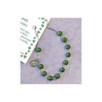 Green Glass Shamrock Bead Rosary Bracelet - Perfect Religious Gift